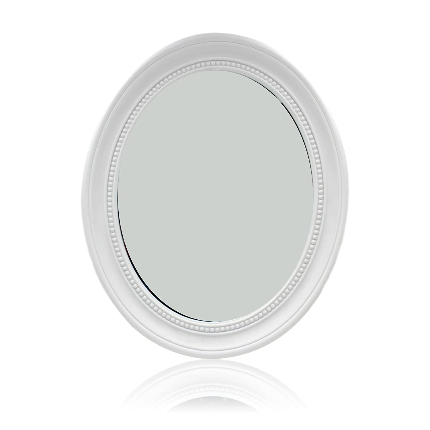 West5Products White Oval Wall Mounted Bevelled Mirror - 50cm