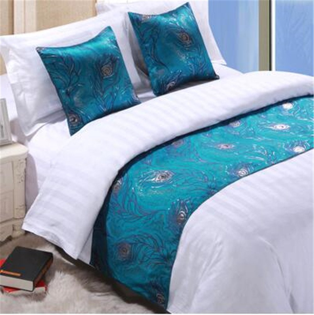 YIH Luxury Bedding Runner Teal Decorative Bed End Scarf for Bedroom Hotel, 94 Inch x 19 Inch