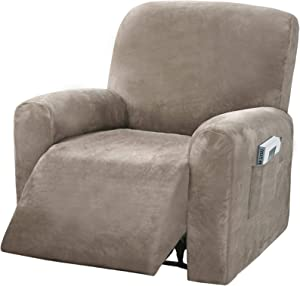 4 Pieces Stretch Velvet Recliner Chair Covers, Thick & Soft Lazy Boy Recliner Slipcover for Home Theater Chair with Side Pocket