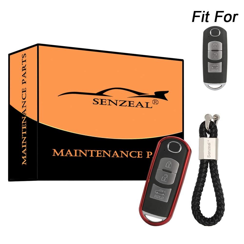 SENZEAL Coque de clé de Voiture en TPU avec Anneaux tressés pour Mazda 2/3/5/6/CX-3/CX-5/CX-7/CX-9/MX-5 Miata Red