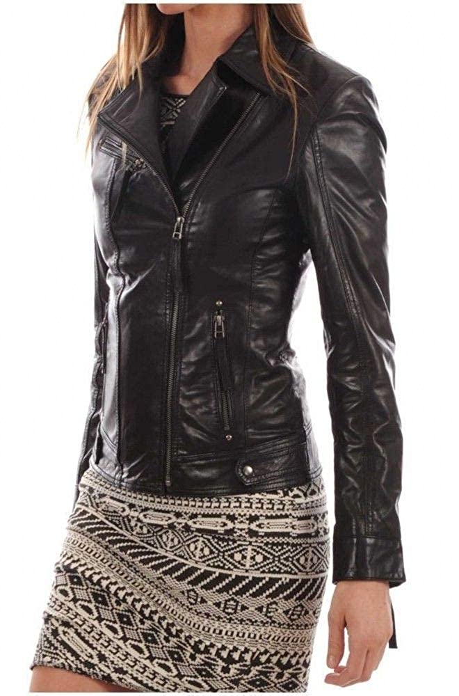 Blacks5 DOLBERG CREATIONS Sheepskin Leather Jacket for Womens