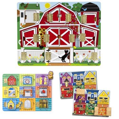 (Melissa & Doug Magnetic Farm Hide and Seek, Latches Board, and Magnetic Hide and Seek Board Bundle)