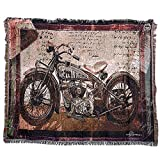 "Cotton Motorcycle Decor Tapestry Pattern Woven Couch Throw Indian Home Hippie Hanging Wall Decor Bedroom Living Room Dorm Wall Hanging (63"" 51"")(GT05-Motorcycle)"