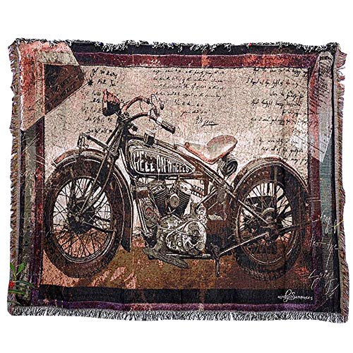 Motorcycle Decor - QEES Cotton Motorcycle Decor Tapestry Pattern Woven Couch Throw Indian Home Hippie Hanging Wall Decor Bedroom Living Room Dorm Wall Hanging (63