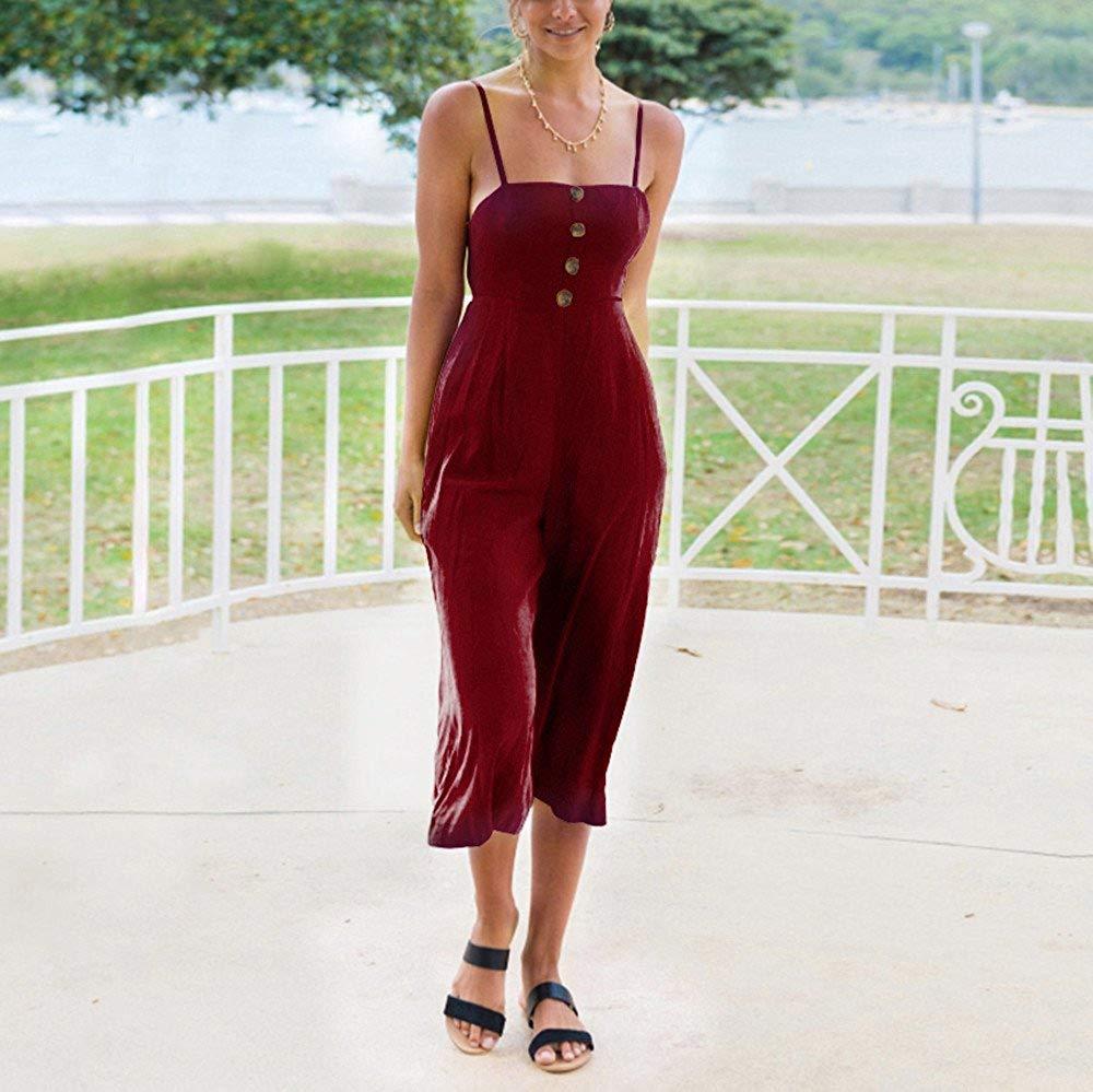GWshop Ladies Fashion Elegant Jumpsuit Women Jumpsuits Elegant Wide Leg Summer Strappy Soild Button Long Trouser Playsuits Wine S by GWshop (Image #4)
