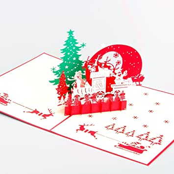 Amazon paper spiritz pop up christmas cards 3d handmade paper spiritz pop up christmas cards 3d handmade holiday greeting cards laser cut pop m4hsunfo
