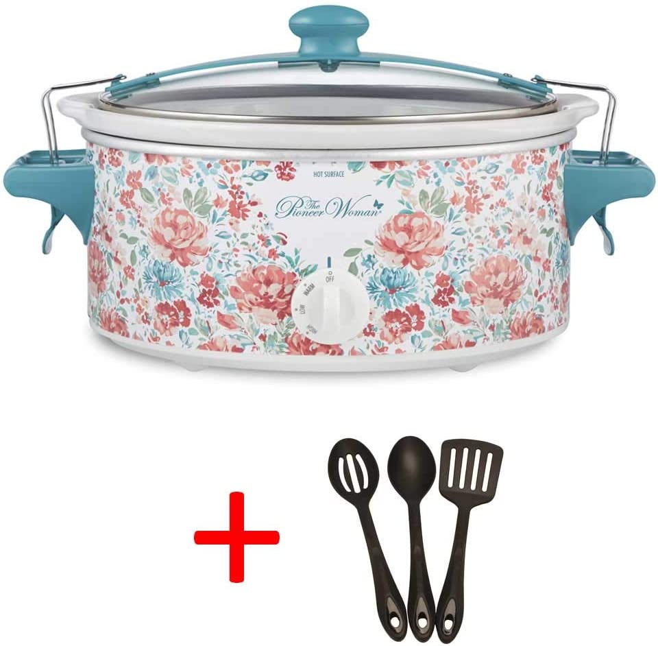 The Pioneer Woman 6 QT Gorgeous Garden Portable Slow Cooker with Sealed Lid with Utensil Set