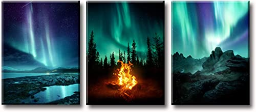 BLINFEIRU Northern Lights Living Room Decorations 3 Panel Canvas Wall Art Painting