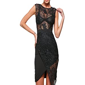 made2envy Asymmetric Hem Lace Overlay See Through Mini Dress