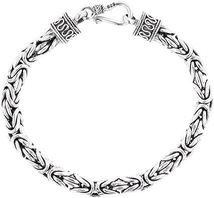 8MM BOLD MENS BYZANTINE CHAIN BALI HANDMADE 925 STERLING SILVER bracelet