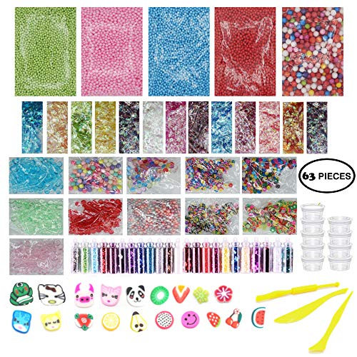Slime Supplies Kit 63 Pack - Big Slime Making Kit Include Floam Balls Glitter Animal Flower Fruit Slices Fishbowl Beads Paper Sugar - DIY Slime Making Accessories - Slime Making Tools & Containers