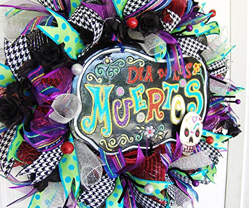 [Clearance Sale Day of the Dead Wreath, Dia De Los Muertos, Halloween, Skull Skeleton Decor, Porch Patio Decoration, Unique Gift for Relative, Traditional] (Catrina Costume For Sale)