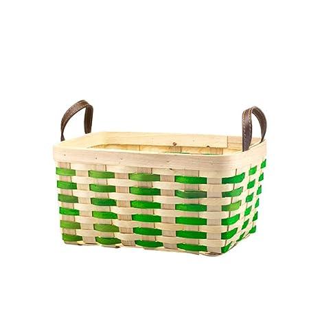 Estilo japonés cesta de bambú rectangular doble mango cesta cesta de colección