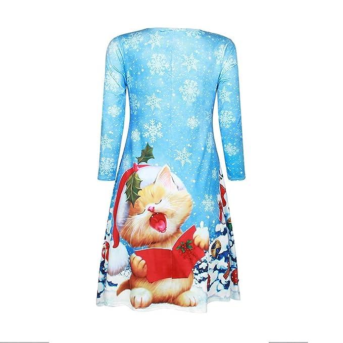 TOPKEAL Vestido Navidad Estampada de Digital Navideño Casual ...