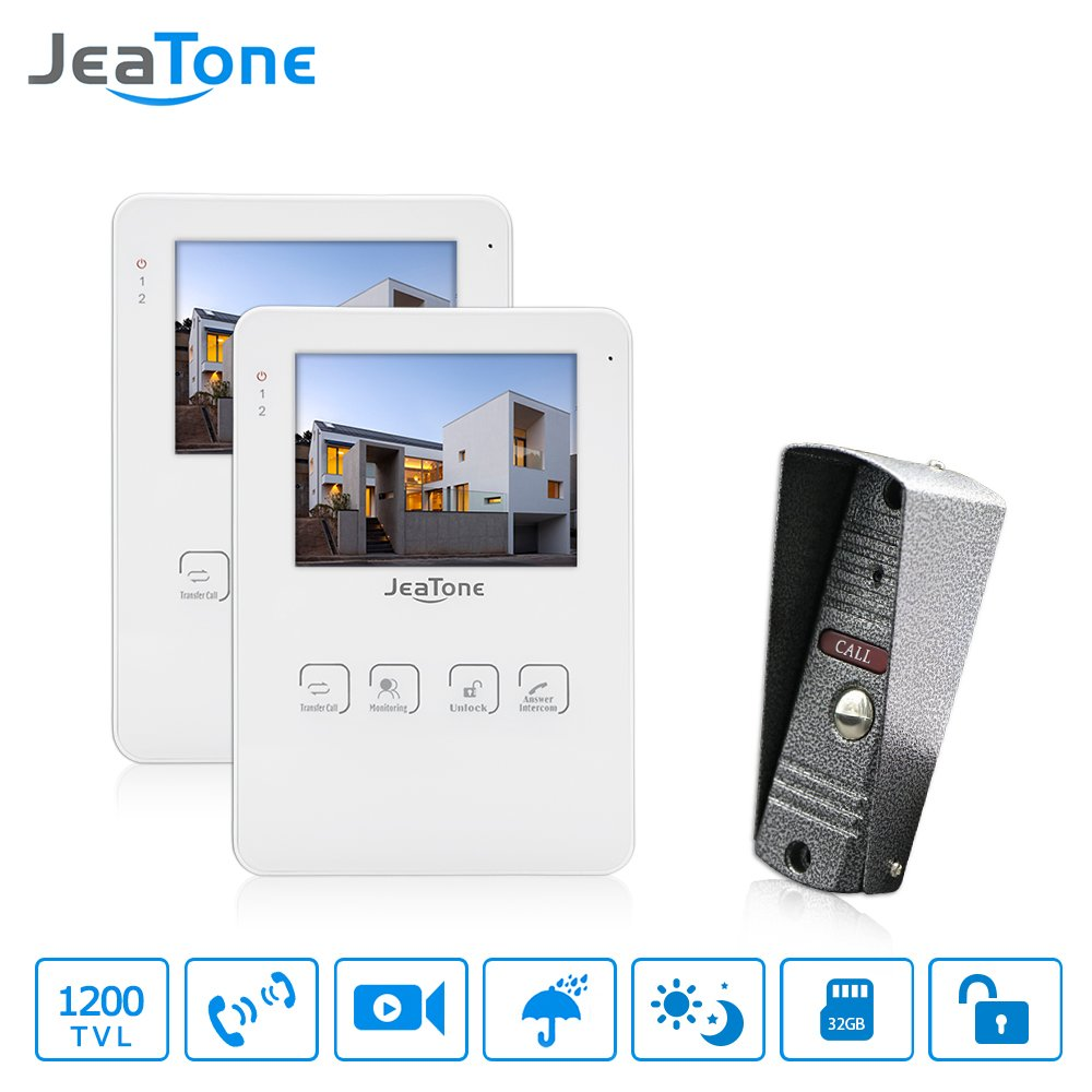 JeaTone 4 Inch Touch Key Video Door Phone Speaker Intercom System Doorphone 1 Camera 2 monitors Home Video Doorbell Intercom