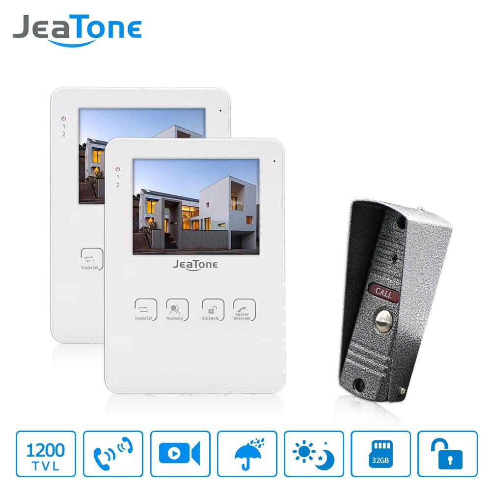 JeaTone 4 Inch Touch Key Video Door Phone Speaker Intercom System Doorphone 1 Camera 2 monitors Home Video Doorbell Intercom by Jeatone