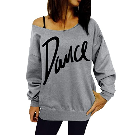 46ace1e3afc Womens Christmas Sweatshirts Long Sleeve Xmas Print Off Shoulder Casual  Womens Tops Clothes Tunic Blouse T Shirts Pullover Outwear Jumper for  Ladies Teen ...