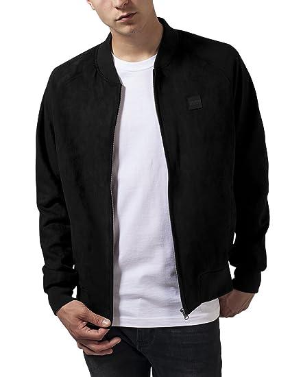 Urban Classic Men's Imitation Suede Raglan Bomber Jacket, Black-Schwarz (Black  7)