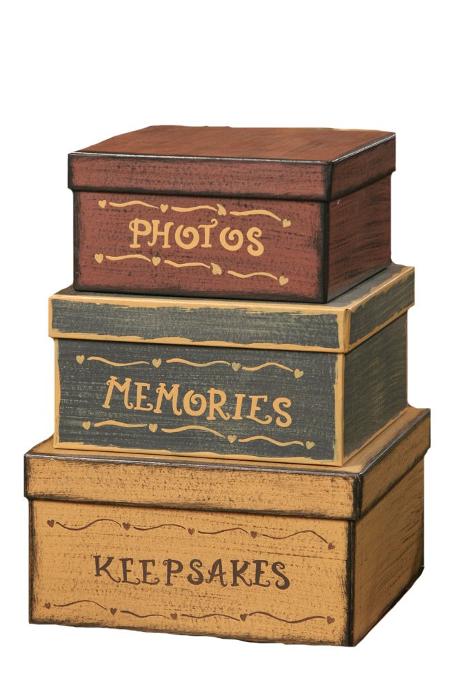 Your Heart's Delight Square Photos, Memories, Keepsakes Nesting Boxes, 12-1/2 by 9-Inch, Set of 3