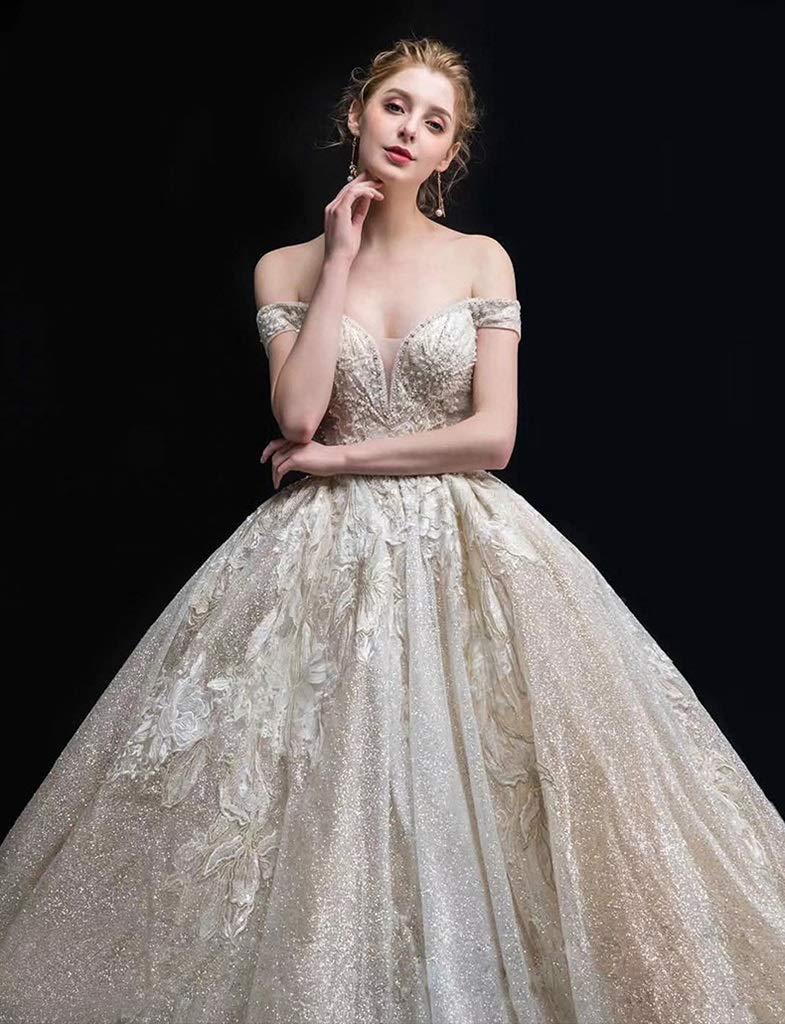 Vestido de novia Resistente con un Solo Hombro, Corte con Cola Grande Princesa Sueño con Novia Cristal Casado con Estrellas Ailin Home (Color : #001, ...