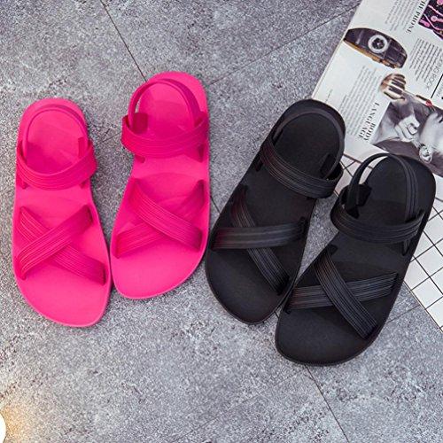 Malloom® Frauen Flip Flops Strand Sandalen Mode Bling Hausschuhe Sommer Frauen Flach Lässige Einfache Blumen Sandalen Schwarz Rosa Schwarz