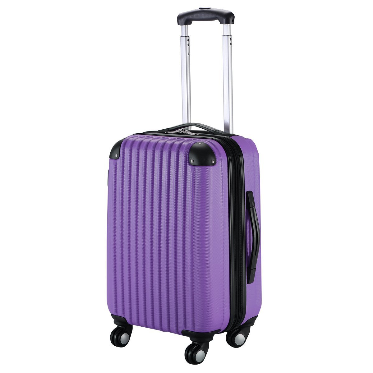 Goplus 20'' ABS Carry On Luggage Expandable Hardside Travel Bag Trolley Rolling Suitcase GLOBALWAY (Purple)