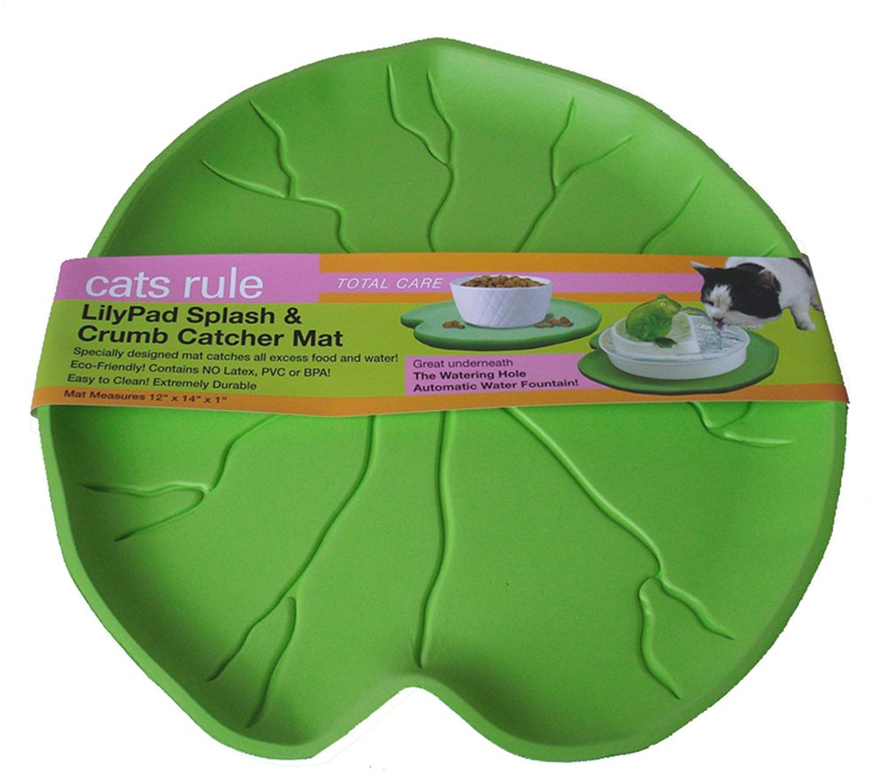 Cats Rule Lilypad Splash and Crumb Catcher Mat Green