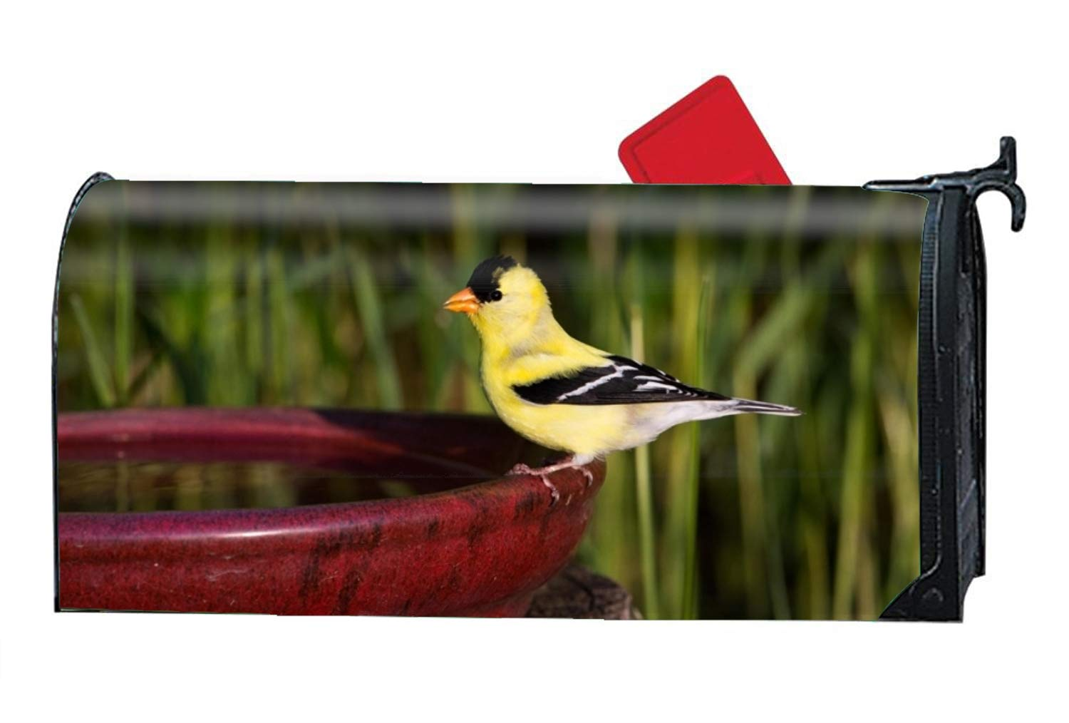 FunnyLife Winter Bird Magnetic Mailbox Cover Fits Standard-Sized Mailboxes, 9'' W x 21'' L