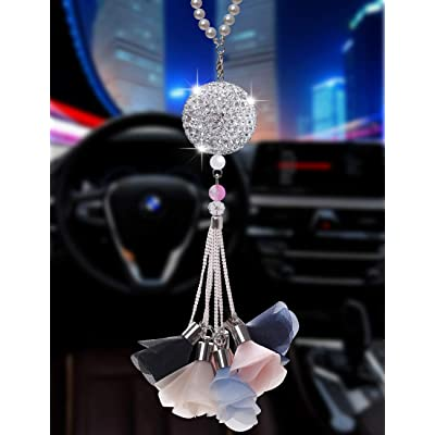 Bling Car Ornament Clear Hanging Crystal Ball Prism Crystals,Lucky Crystal Sun Catcher Ornament,Rear View Mirror Flower Charm Decor Design Pendant Bling Car Accessories (Crystal Ball - Flower-A): Automotive