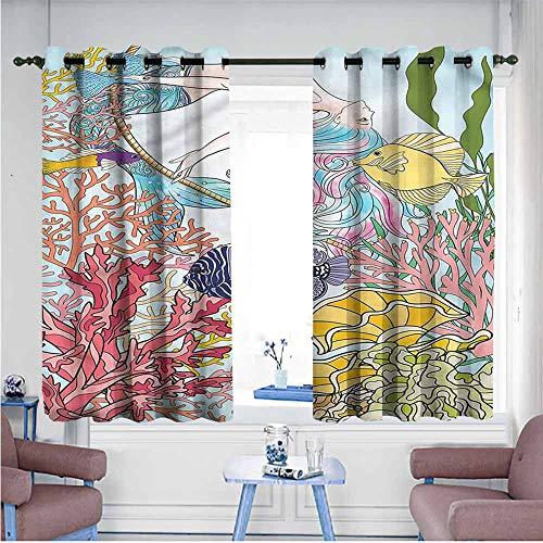 Mdxizc Decor Curtains Mermaid Sketchy Sea Coral