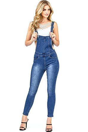 238ac90f8cc Amazon.com  Iris Women s Juniors Skinny Leg Ankle Length Denim Overalls   Clothing