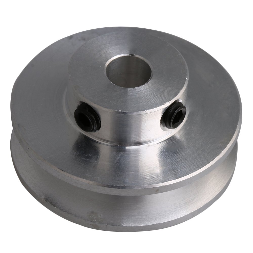 BQLZR 31x15x6MM Silver Aluminum Alloy Single Groove 6MM Fixed Bore Pulley for Motor Shaft 3-5MM PU Round Belt M4180410055