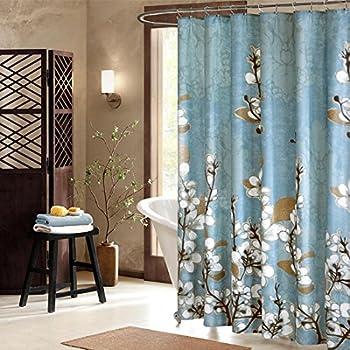 Bon DS BATH Hanakotoba Blue Shower Curtain,Flower Polyester Fabric Mildew  ResistantShower Curtain,Plants Shower