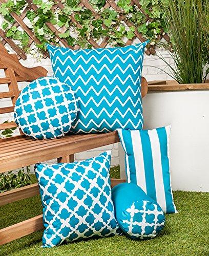 Arabesque Teal Design Water Resistant Modern Bolster Cushion