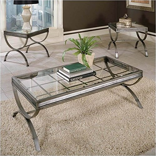 - BOWERY HILL 3 Piece Coffee and End Table Set in Silver