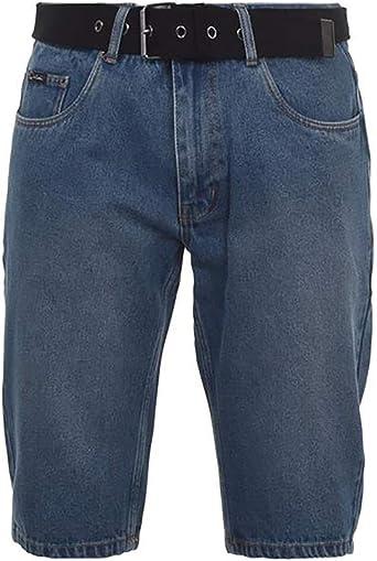 TALLA XXL. Pierre Cardin Hombre Pantalones Cortos Longitud de la Rodilla Cinturón Tejido de Lona