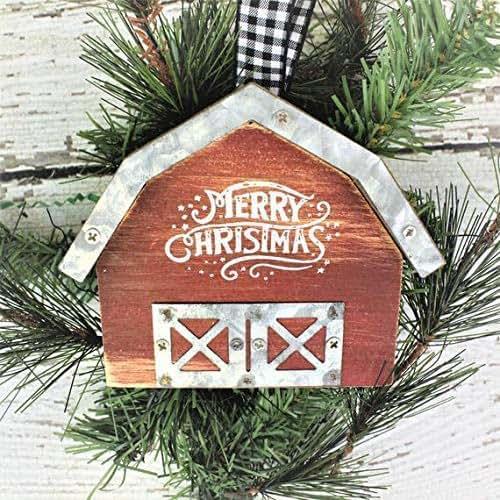 Amazon.com: Red Barn Ornament, Christmas Ornament ...