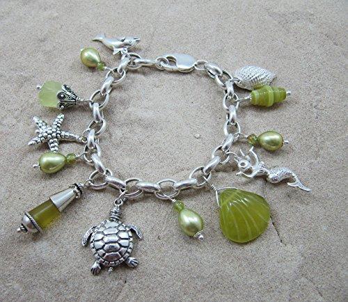 Sterling Silver Hawaiian Charm Bracelet - Mermaid, Dolphin, Honu, Shell, (Stunning Shell Bracelet)