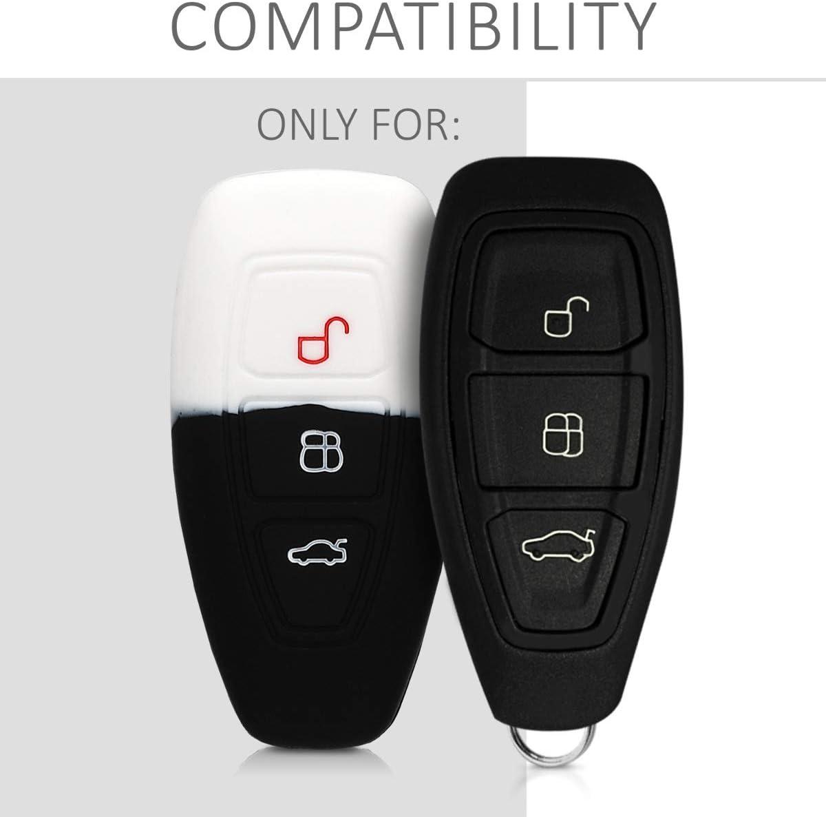 Coque pour Clef de Voiture Keyless Go Ford 3-Bouton en Silicone Noir-Vert /Étui de Protection Souple kwmobile Accessoire cl/é de Voiture pour Ford