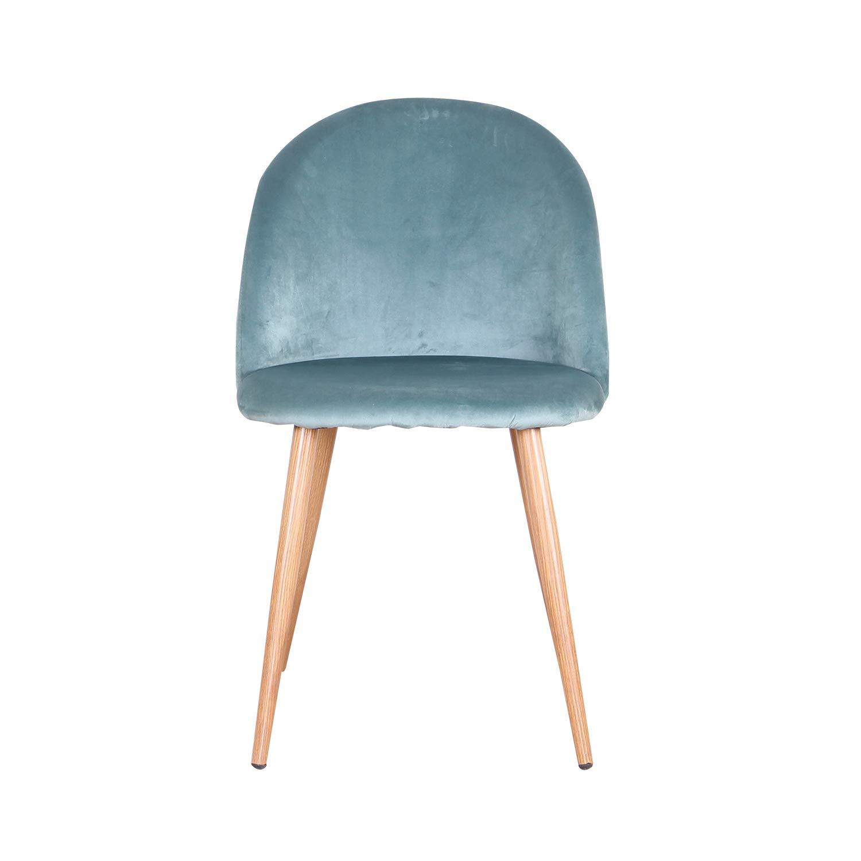 N / A Set med 4 stolar mjuk sammet sits och rygg med trästil metallben matsal och vardagsrumsstolar (grön-4) Grön-4