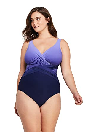 11e341d0d8a22 Lands' End Women's Plus Size Slender Wrap One Piece Swimsuit with Tummy  Control Print at Amazon Women's Clothing store: