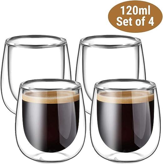 2 Unterteller 100 ml 2 Gläser Doppelwandige Thermo Gläser Espresso 4 teilig