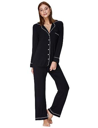 fe78aed3a4 Women s Long Sleeve Pajama Set Two Piece Button Down Nightwear Black S  ZE48-1