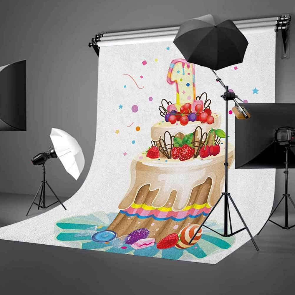 7x10 FT Vinyl Photography Backdrop,Huge Smiling Drawn Beast of The Sea Ornamental Whale with Floral Designs on it Art Background for Child Baby Shower Photo Studio Prop Photobooth Photoshoot