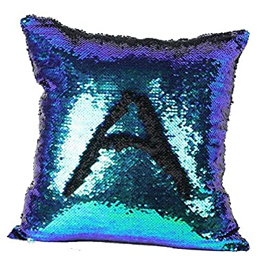 OJIA Stylish Sequin Mermaid Throw Pillow Cover with Magical Color Changing Reversible Paillette Design Faux Suede Decor CushionPillowcase 16 X 16 Inch (Blue and Black)