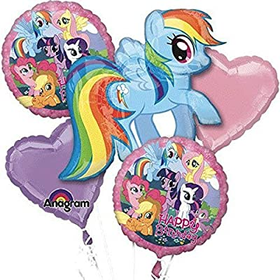 My Little Pony Birthday Balloon Bouquet Birthday Party Favor Supplies 5ct Foil Balloon Bouquet: Beauty