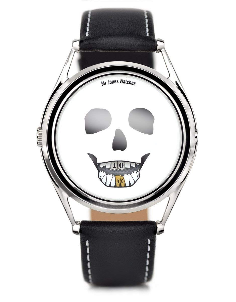 Mr Jones Unisex The Last Laugh Stainless Watch - Black Leather Strap - White Dial - 25-P4