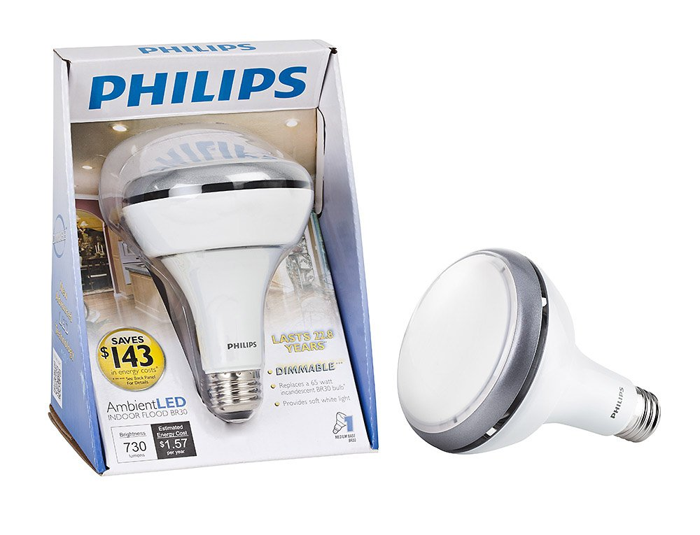 Philips 420273 Ambient LED 13 Watt BR30 Indoor Flood Light Bulb, Dimmable    Led Household Light Bulbs   Amazon.com
