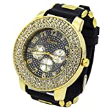 Totally Iced Out Pave Geneva 3line Gold Tone Black face Over Sized Hip Hop Men's Bling Watch Watches Bk Silicone Band