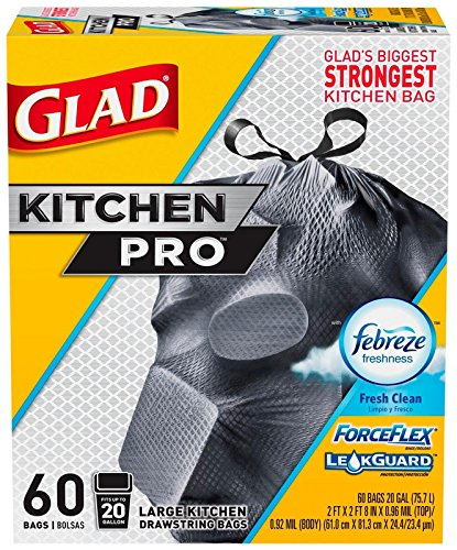 Glad Forceflex Kitchen Pro Drawstring Trash Bags, Fresh Clean, 20 Gallon, 60 Count